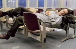 sleeping in the airport terminal